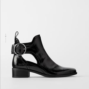 Zara cutout leather booties